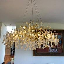 Phube – lustre en cristal avec gouttes d'eau, éclairage de Branches artistiques, couleur claire, éclairage de Salon, abat-jour inclus