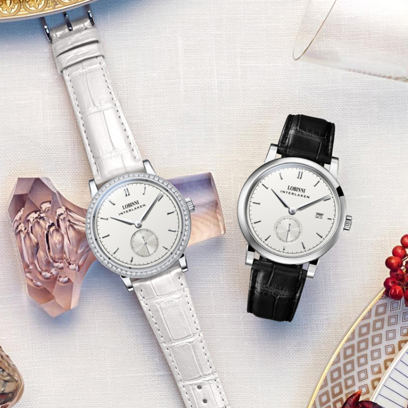 LOBINNI Couple Watch Famous Brand Watch Mechanical Automatic Watches Women Watch Sapphire Watch Leather Skeleton Watch Lovers