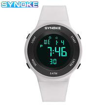 SYNOKE Fashion Womens Wristwatches relo digital 50M Waterproof Comfortable Strap Ladies Digital Watches relojes digitales mujer cheap CN(Origin) 5Bar Plastic Buckle SPORT NONE No package 44 6mmmm Stop Watch Back Light Shock Resistant LED Display Repeater