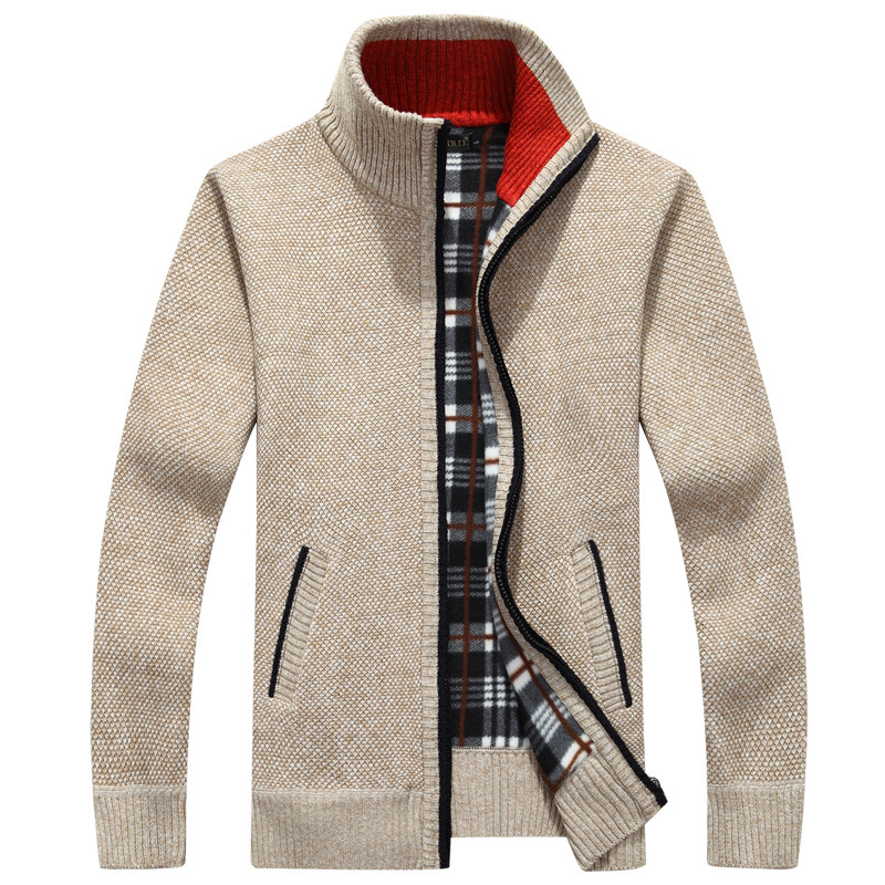 Thick Men's Knitted Sweater Coat Off White Long Sleeve Cardigan Fleece Full Zip Male Causal Plus Size Clothing For Autumn Spring 2