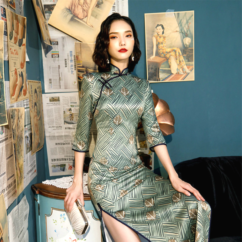 Novelty Traditional Chinese Dress Long Sleeve Qi Pao Banquet Preside Cheongsam Gold Leaf Printing Green Black Stripe QiPao