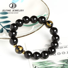 JD 10mm Black Agate Beads Bracelet Crystal Strand Mala Rosary Buddhist Buddha Amitabha Lover Lucky Amulet Jewelry(China)