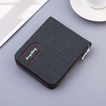 2020 new canvas zipper Short Men's Wallet with coin pocket Clutch Purse Bag For Male Money Wallet Denim card holder