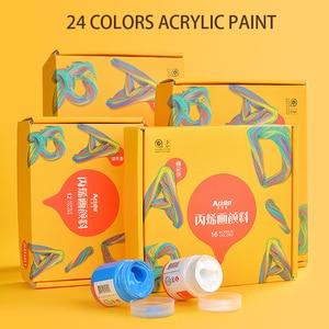 акриловые краски 24 Цвета Профессиональный набор кистей 50 мл трубки художник рисунок красящий пигмент ручная роспись краски для стен;краска для одежды;краски для рисования;набор для рисования;краска для ткани