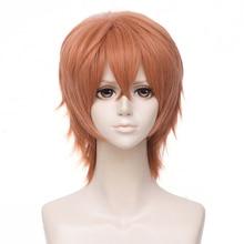 Anime Given Sato Mafuyu Cosplay Wig Short Dark Orange Heat Resistant Synthetic Hair Halloween costume wigs + Free Wig Cap