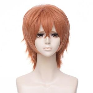 Image 1 - Anime donné Sato Mafuyu Cosplay perruque courte Orange foncé résistant à la chaleur cheveux synthétiques déguisement dhalloween perruques + bouchon de perruque gratuit