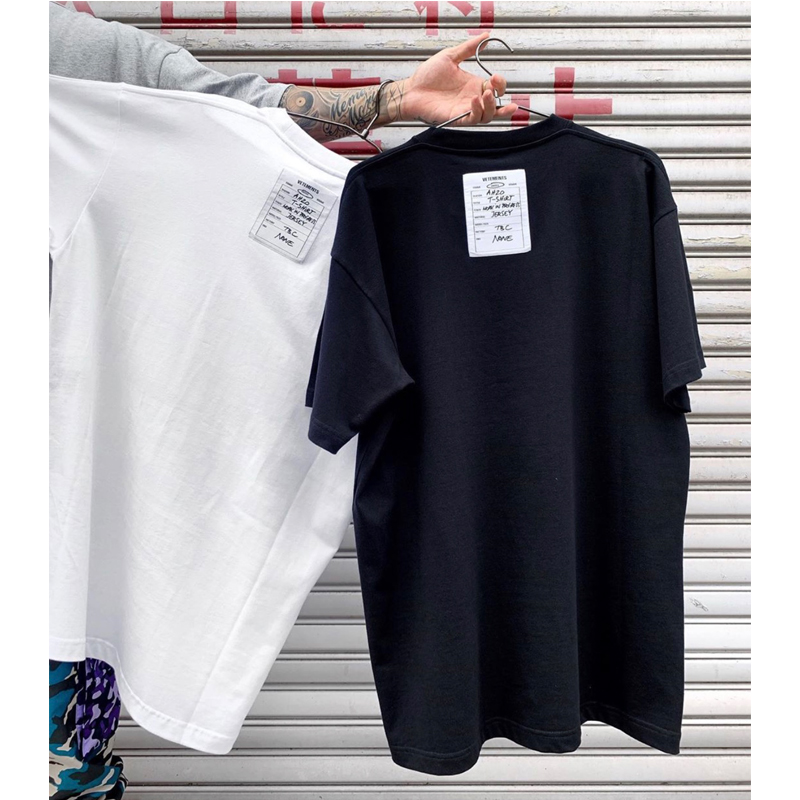 2020 New VETEMENTS T-shirt Unisex Work In Progress Jersey Cotton Vetements Tee Black/White High Quality Tops Tag T-shirts