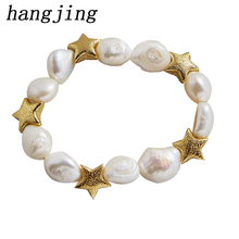 HanJing Fashion Cute Designer New Arrival  Charm Love Women 18 k heart Gold Natual Water Fresh Pearl Bracelets For 2019