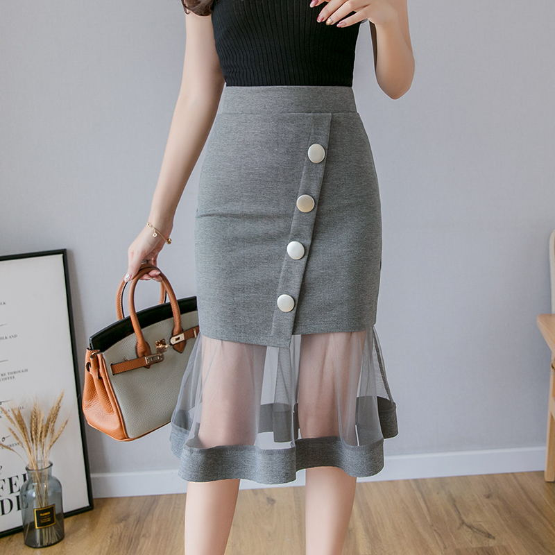 New Plus Size S-5xl Mesh Patchwork Womens Skirt Good Elastic Waist Gray Skirt Korean Office Women Sexy Midi Skirts Jupe Femme