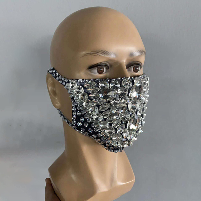 Halloween Mouth Mask Rhinestone Face Mask Party Show Costume Evening Club Dance Wear Singer Costume Crystal Mask Elastic
