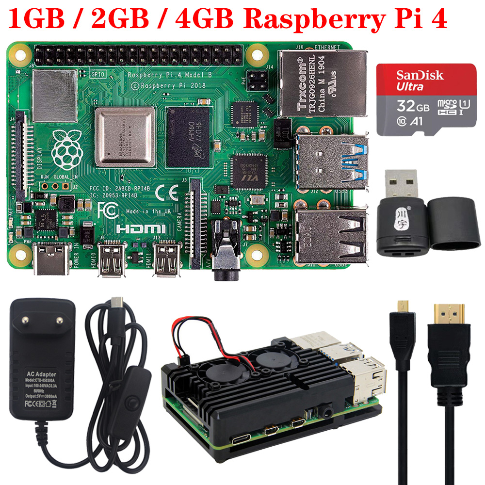 Raspberry Pi 4 Model B 1G 2G 4G RAM 4 Core 2.4G&5G WiFi Bluetooth 5.0 4K Micro HDMI RPI 4B Better Than Raspberry Pi 3 3B Plus