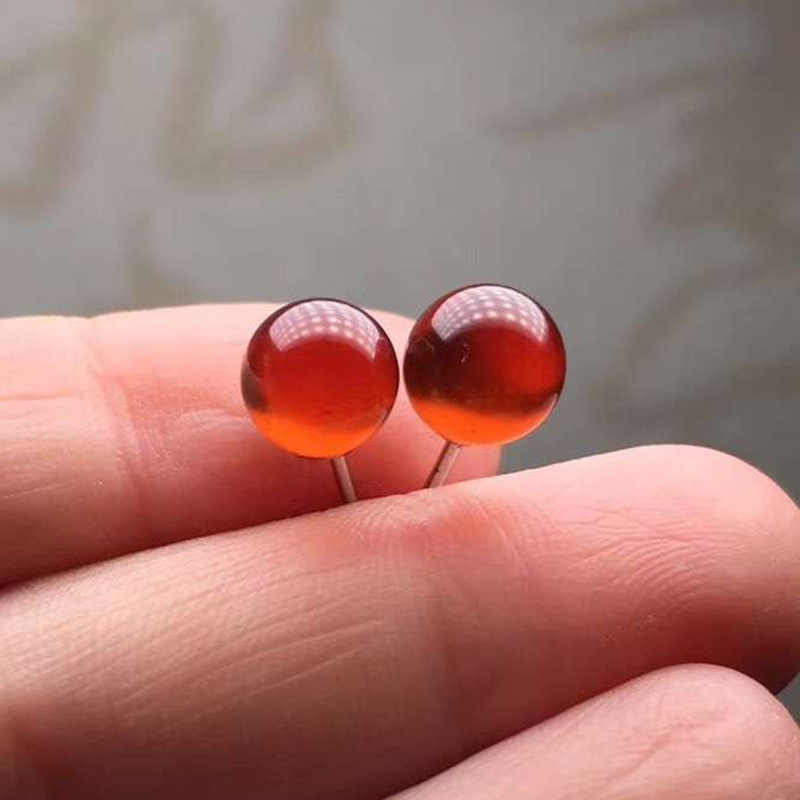 Pendientes de botón pendientes de plata de ley 925 mujer piercing oreja pendientes de naranja Natural granate pendientes de semental hembra aguja de plata con incrustaciones