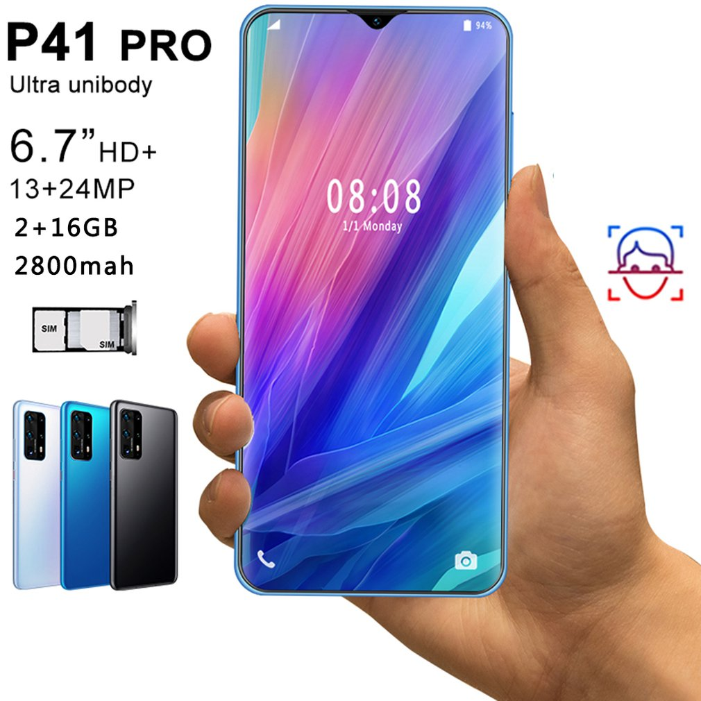 P41pro 6.7 Inch Water Drop Screen 2 + 16GB Mobile Phone Smart Phone Face Recognition Technology Phone