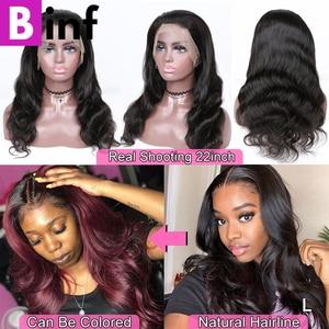 Image 4 - 360, парик на сетке с передней частью, волнистые волосы, предварительно выщипанные детскими искусственными волосами, бразильский парик на сетке 360, цвет 1B для женщин