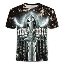 2021 Summer New Men's T-shirt 3D Street Skull Fashion Short Sleeve Top Street Round Neck T-shirt Unisex Casual T-shirt