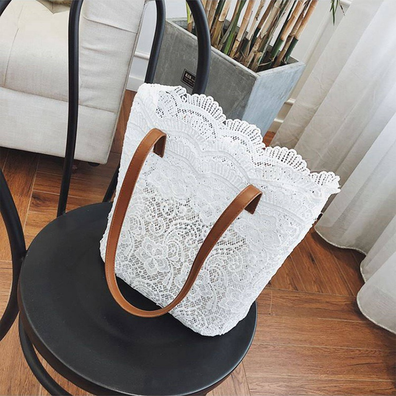 NEW-2018 Women Messenger Bag Single Strap Shoulder Bag Lady Lace Crossbody Bags Lady Handbag White