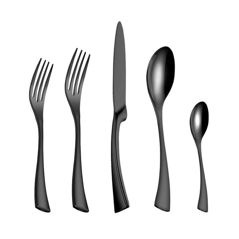 20 Pçs/set Preto de Aço Inoxidável Conjunto de Talheres Louça Talheres Talheres Define Jantar Faca e Garfo Transporte da gota