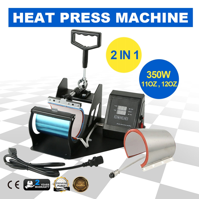 2in1 Heat Press Machine Digital Transfer Sublimation Coffee Tea Mug Cup DIY Printer 11oz 12oz