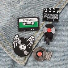 Camisetas de la música Punk para hombre y mujer, ropa de DJ, vinilo, insignia, broche de solapa, pantalones vaqueros