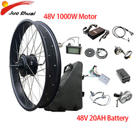 48V1000W Electric Bike Conversion Kit 20''26''4.0fat tire Bicycle Snow Beach Bike 48V20AH Battery Rear Hub Motor Wheel Ebike Kit
