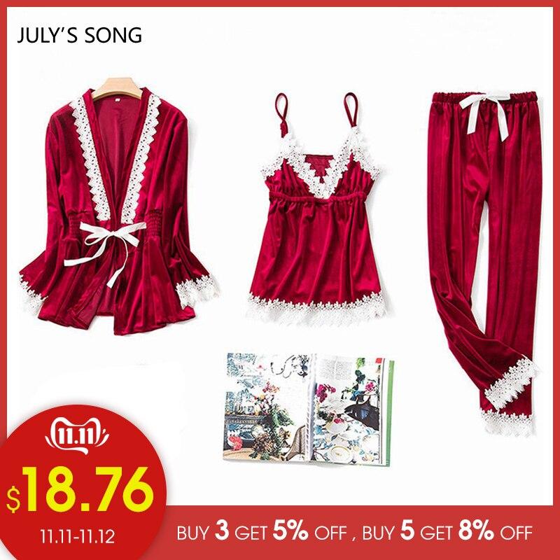 JULY'S SONG Fashion Gold Velvet 3 Peices Warm Pajamas Set Women Sexy Lace Sling Pajamas Winter Sleepwear Long Sleeves Nightwear