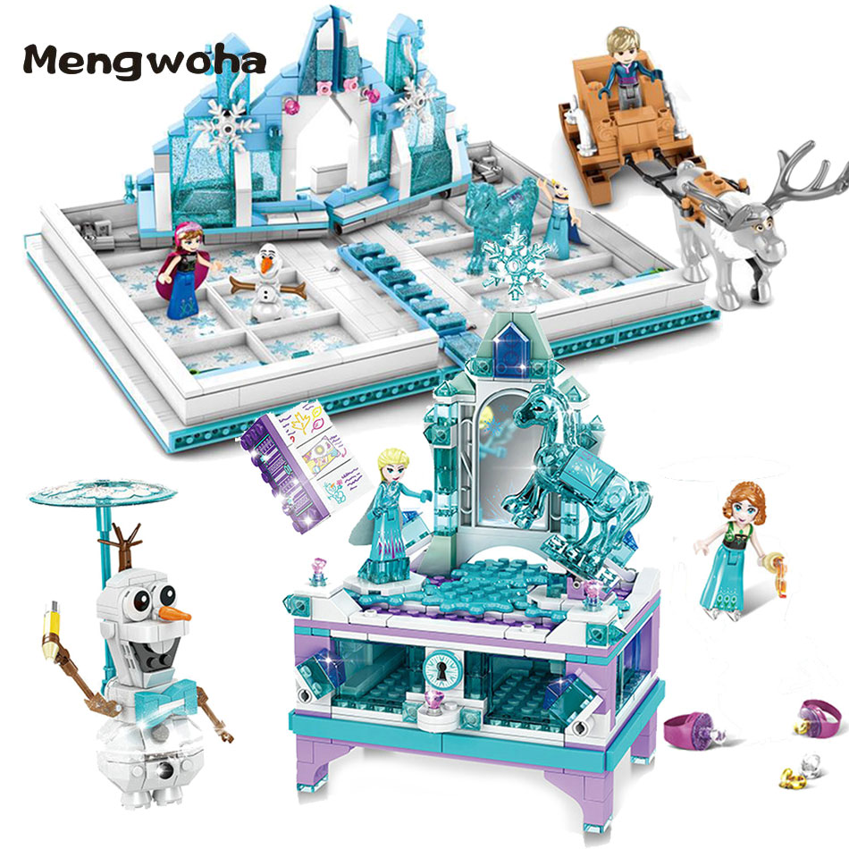 Elsa Jewellery Box Princess Pop-up Book Castle Building Blocks Fit Legoinglys Friends Frozeninglys 2 Girl Gift Toys For Children