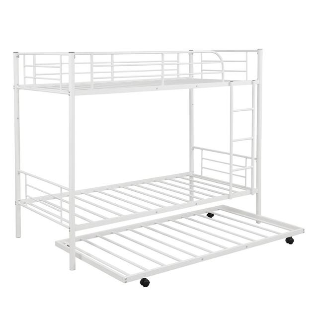 White Metal Twin Over Twin Loft Bunk Bed  4