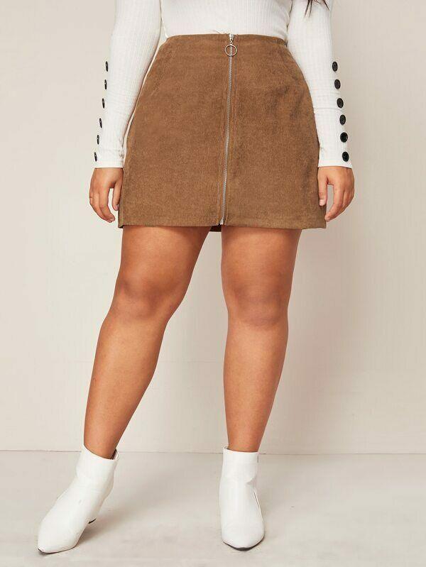 Plus Size Women Ladis Mini Skirts Solid Zipper A-line Slim High Waist Skirts Fashion New