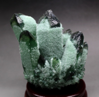 643g Natural Green Ghost Phantom Quartz Crystal Cluster Crystals and stones Healing Specimen Free wooden base