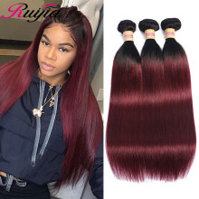 Ombre Human Hair Straight Bundles Raw Indian Hair Extension 1B 99J Burgundy Two Tone Straight Human Hair Weave Bundles Non Remy стоимость