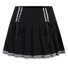 E15E Women Gothic Punk High Waist A-Line Black Mini Pleated Skirt Lace Patchwork Trim Bowknot Flared Hem Ruffles Harajuku