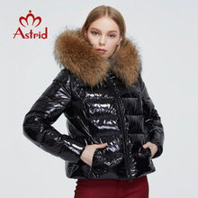Women's Coat Clothing Short-Jacket Parka Raccoon-Fur Black Winter Hood Female Thick Astrid