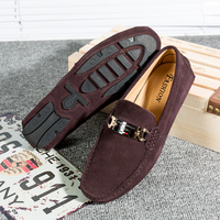 Men Leather Loafers Shoes Suede Men's Shoes Man Moccasins Loafer Slip On Gommnio Driving Shoes Casual Flat Tenis Masculino Brown