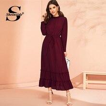 Sheinside Bordo İpli Bel Bir Çizgi Elbise Kadınlar 2019 Sonbahar Standı Yaka Maxi Elbiseler Bayanlar Katı Fırfır Etek Elbise