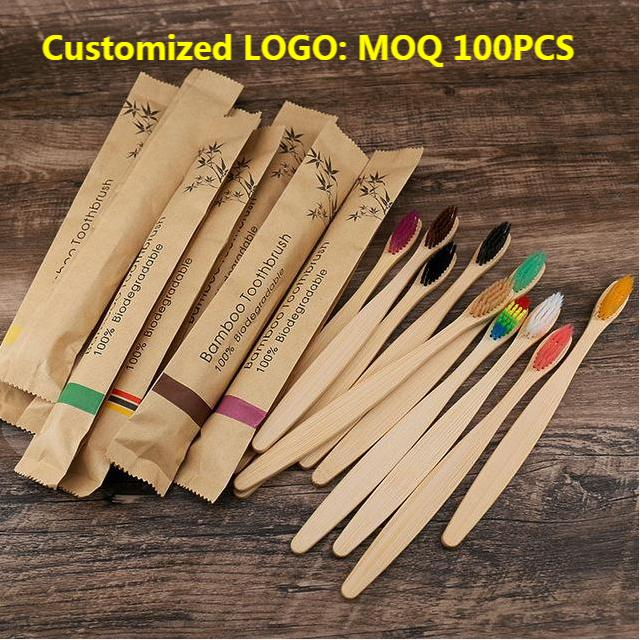 100Pcs Eco Friendly Bamboo Resuable Toothbrushes Portable Adult Wooden Soft Tooth Brush Customized Laser Engraving Logo
