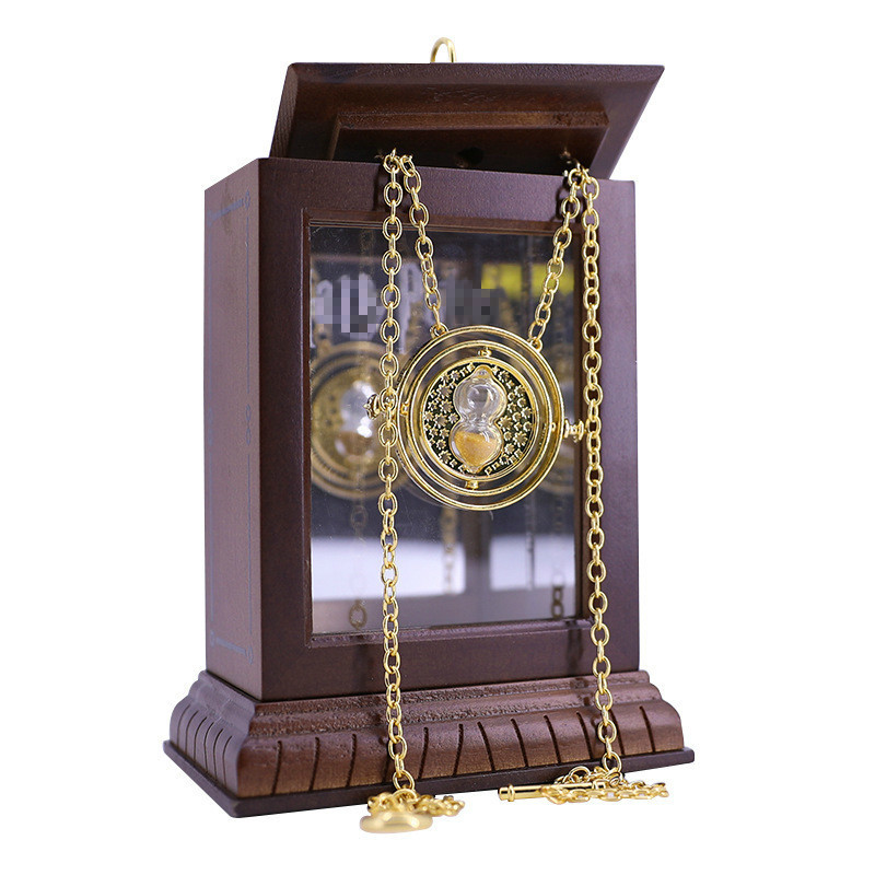 Hermione's Time Turner Harried Necklace Noble High Quality Potter Collection With Wooden Mirror Box Prop Replica image