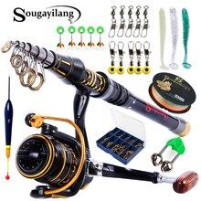 Sougayilang 1.8-2.7m Telescopic Fishing Rod Fishing Reel Baits Hooks Saltwater Freshwater Professional Fishing Rod Full Kits