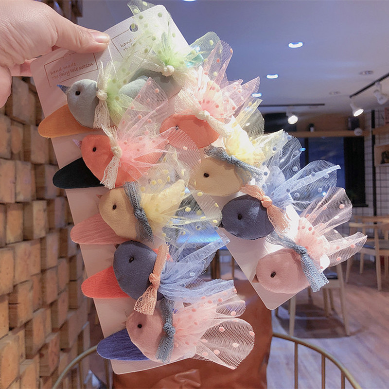 New Korean Fashion Cute Point Lace Fabric Cartoon Bird BB Clip For Sweet Girl Children's Duckbill Clip Hair Accessories