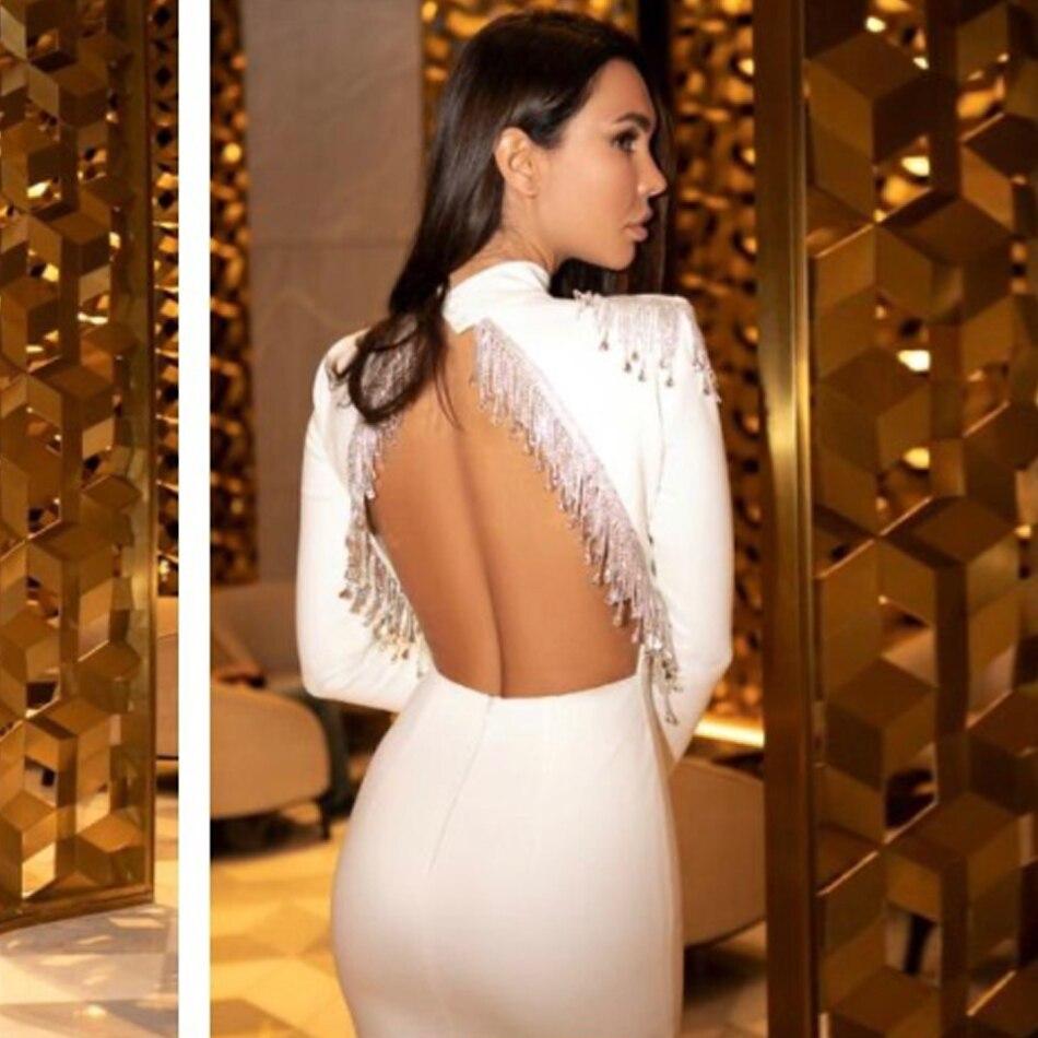 Женское облегающее платье Adyce, черное облегающее платье с кисточками и открытой спиной, вечерние платья знаменитости, осень 2020 Платья      АлиЭкспресс