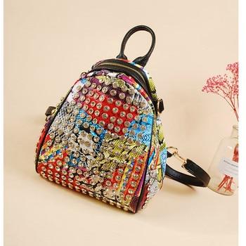 Fashion Diamond Women Backpack 2020 Diamond Painting Famous Brand High Quality Travel Shoulder Bags Snake Leather Rivet Rucksack
