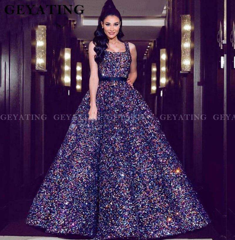 Arabic Sparkly Sequin Ball Gown Prom Dresses 2019 Dubai Square Spaghetti Straps Women Formal Evening Gown Vestido De Quinceanera
