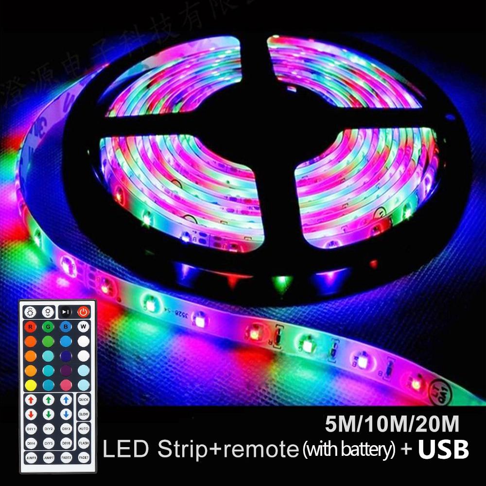 5/10/20 м RGB Светодиодные ленты светильник для дома SMD USB светодиодные ленты Светодиодные ленты s Гибкая RGB ленты ночника ленточный светильник с ...