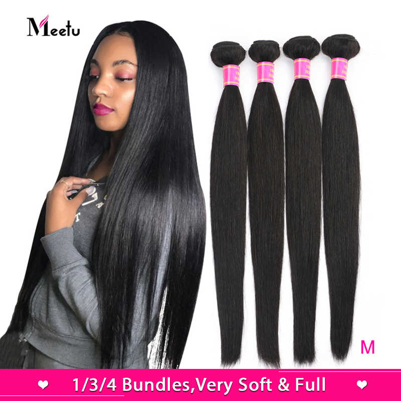 Meetu Malaysian Straight Hair Bundles Natural Color 100% Human Hair Weave Bundles Non-Remy Hair Extensions Buy 3 or 4 Bundles