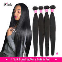 Meetu Malaysian Straight Hair Bundles Natural Color 100% Human Hair Weave Bundles Non-Remy Hair Extensions Buy 3 or 4 Bundles
