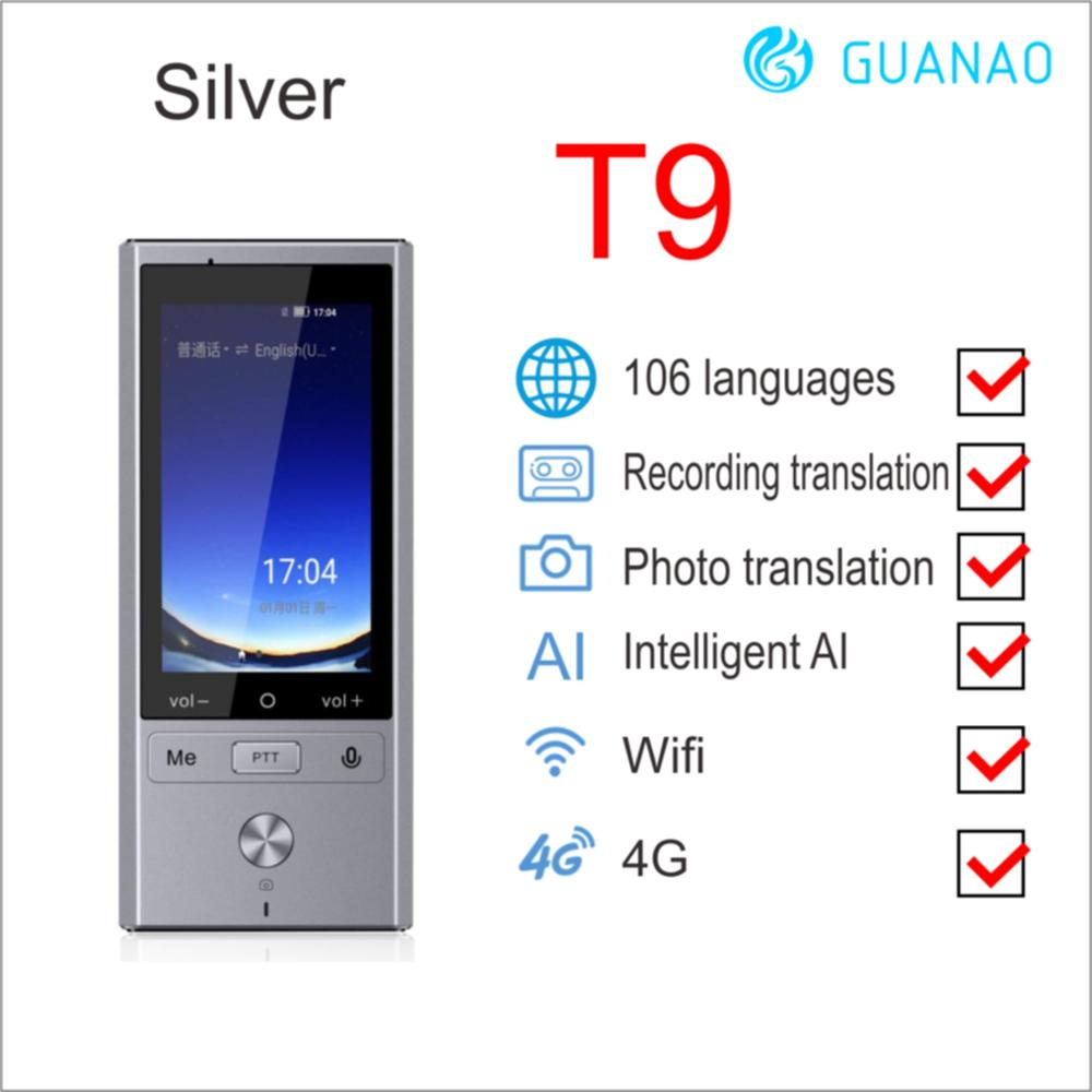 106 Language Translation T9 Translator Supports 8 Countries Offline 4G WIFI Intelligent Voice Photo Translation Machine Device