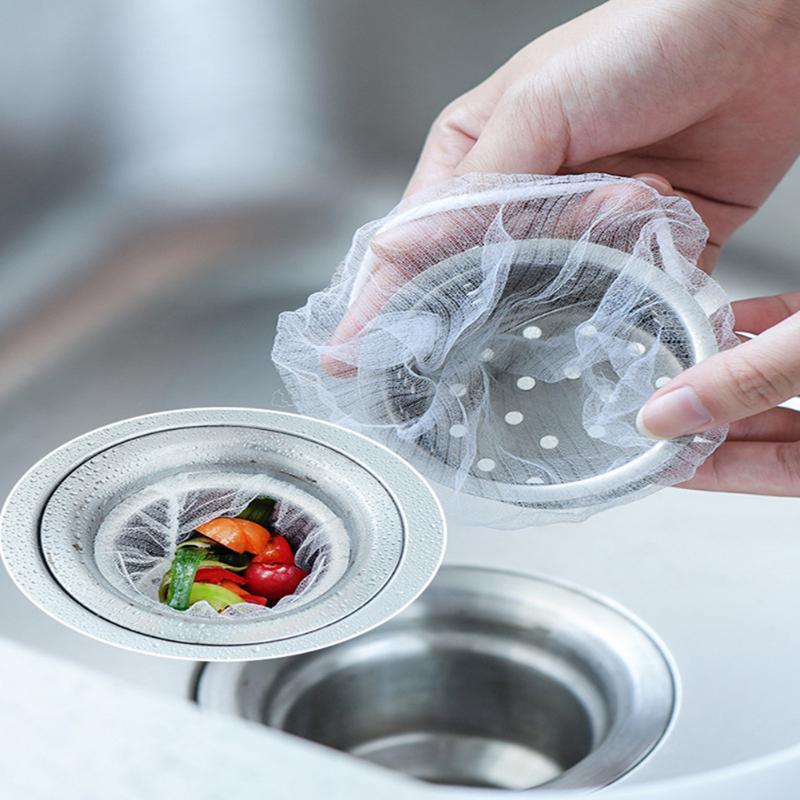 Durable Sink Drain Filter Hole Trash Strainer Mesh Disposable Garbage Bag Kitchen Waste Bathtub Drain Filter Accessories