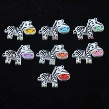 50PCS Cartoon Striped Zebra Wooden Beads DIY Color Printing Clothing Buttons Baby Coat Bracelet Jewelry Accessories 21X29mm(China)
