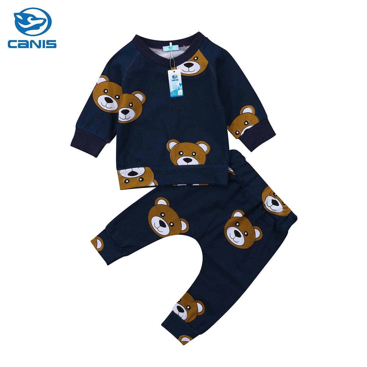 2Pcs Cute Newborn Infant Baby Boy Panda Long Sleeve T-shirt Striped Pants Outfit Clothes Set
