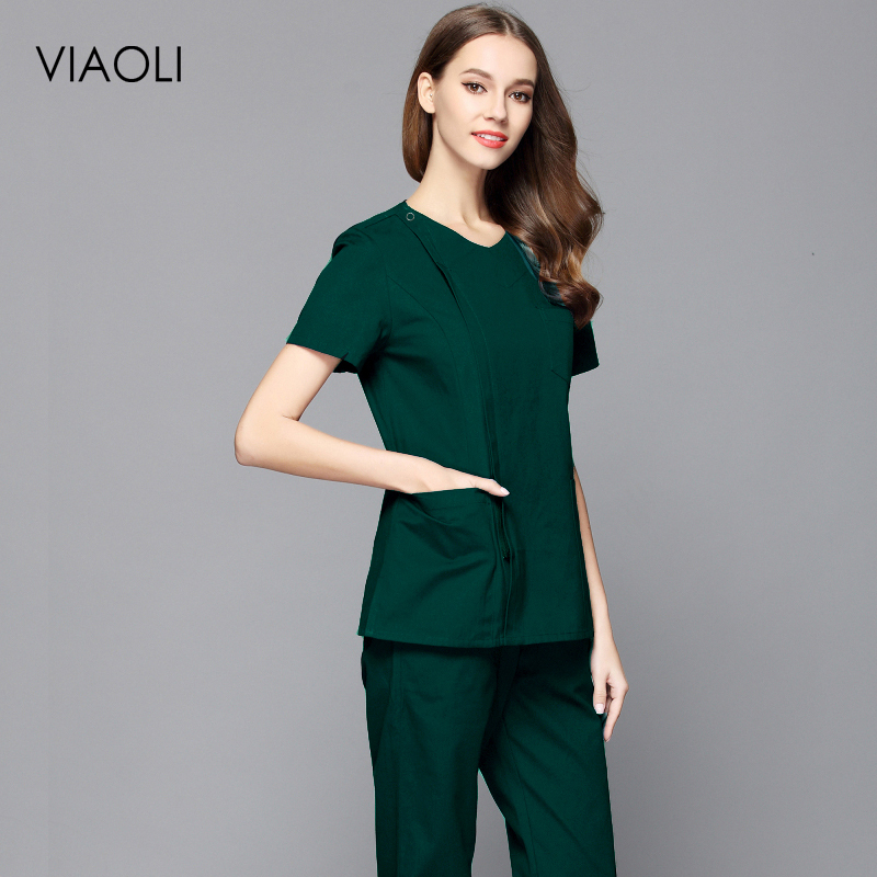 New Style Women Fashion Scrub Top Doctor Nurse Uniform Side Opening Front Shirt With Concealed Zipper Surgery Scrub(Top Or Suit)