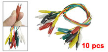 цена на 10 Pcs Colorful Insulated Alligator Clip Test Lead Cable 45cm 1.5 Ft